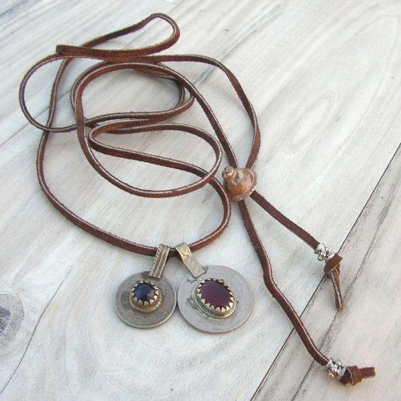 Leather Charm Necklace or Wrap Bracelet Jeweled by GypsyIntent. $33.00 USD, via Etsy.