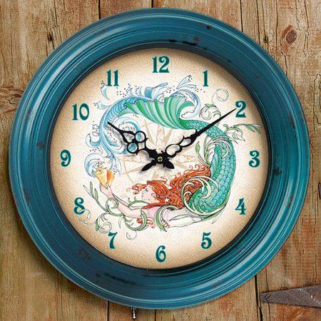 Mermaid Wall Clock. would match my bathroom décor. Should I put a clock in the bathroom?