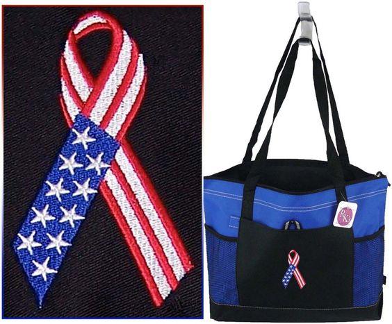 American Flag Awareness Ribbon Tote Gemline Select Zippered Bag Soldier Monogram