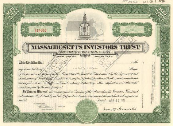 Massachusetts Investment Trust stock certificate 1948 (1st mutual fund)