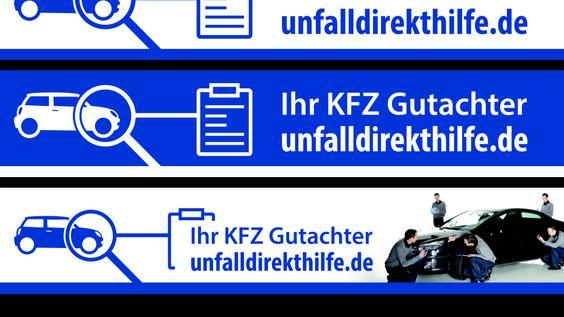 Entwürfe verschiedener Schilder der Unfalldirekthilfe um die Filialen des Sachverständigenbüros umzusignalisieren. Unsere Gutachter freuen sich bereits.