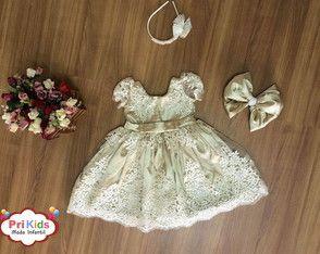 Vestido de festa Realeza Dourado infant