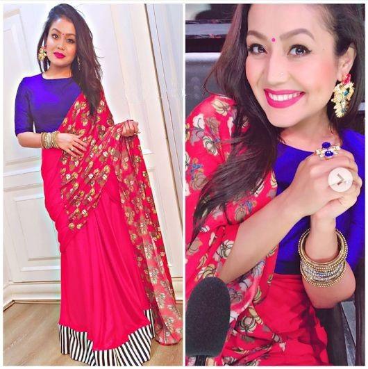 Neha Kakkar In Pink Saree Neha Kakkar Style Pink Blue Saree Printed Work Saree Saree With Plain Silk Blouse In Neha Kakkar Dresses Mehendi Outfits Pink Saree