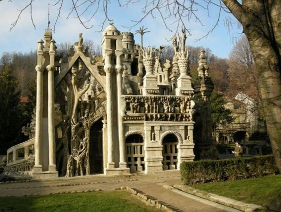 """Now I am lovin' this! Ferdinand Cheval was a French postman who spent thirty-three years of his life building Le Palais idéal (the """"Ideal Palace"""") in Hauterives  For thirty-three years, he picked up stones during his daily mail round and carried them home to build the Palais idéal.  His story of why he built this house is a charming one.  He also built a mausoleum where he was buried about a year after it was finished.  For more go to: http://en.wikipedia.org/wiki/Ferdinand_Cheval"""