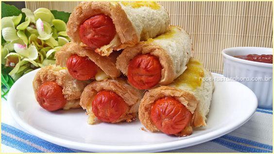 Essa receita de Enroladinho de Salsicha com Pão de Forma será sucesso garantido com a criançada. Pode servir como aperitivo também, todos vão adorar!!