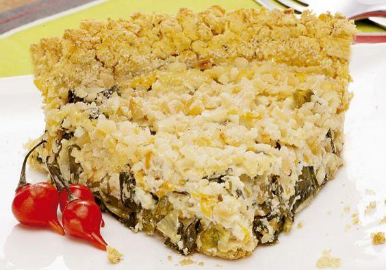 Torta de grão-de-bico com escarola e requeijao