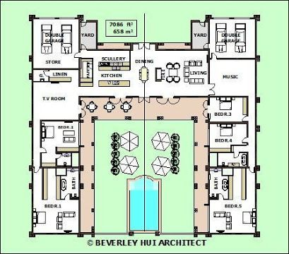 Image Result For U Shaped House Plans With Central Courtyard Pool House Plans L Shaped House Plans U Shaped House Plans