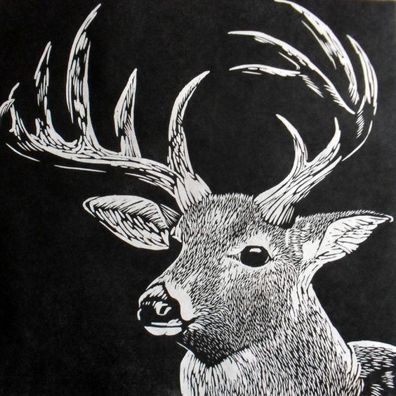 Stag linocut on japanese kozuke paper gsm white by
