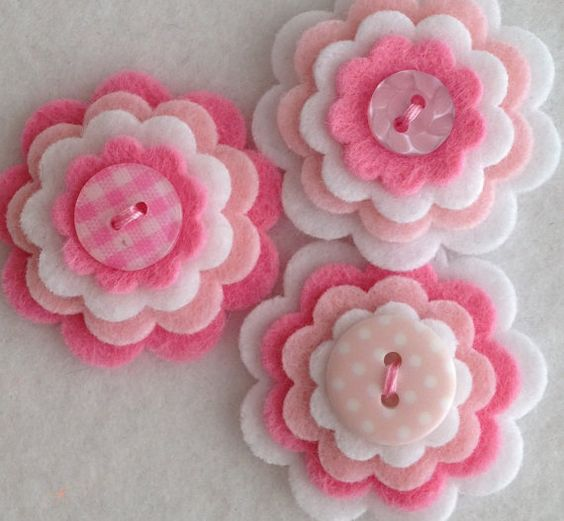 Set of 3 Handmade BABY GIRL felt & button embellishments      Embellishments in this listing are made in a mix of felt: polyester, acrylic