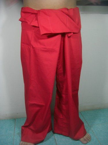 """Thai Fisherman Pants 100% Light Cotton - Free Size - Red Color (Thai Chaolay Pants) by Thai Chaolay Pants. $22.39. For Everybody - Red Color Size : about 50"""" around the waist and total length is about 39"""" Product of Thailand"""