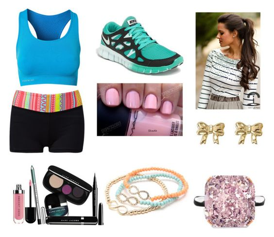"""""""Workout"""" by your-my-everything ❤ liked on Polyvore featuring Forever 21, NIKE, Pure Lime, Marc Jacobs, MAC Cosmetics, With Love From CA, women's clothing, women, female and woman"""