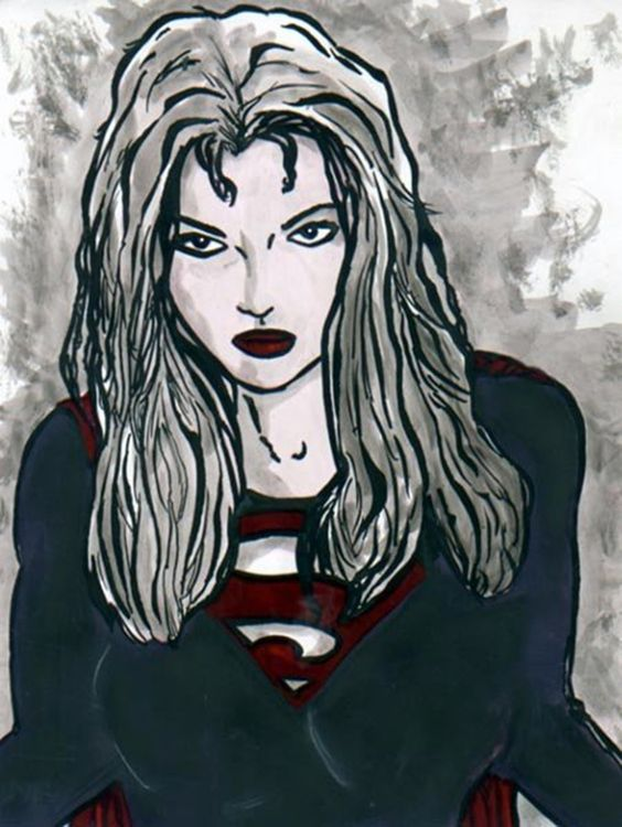 Supergirl. Pastels and India Ink.   ~Artist Chris Jennison