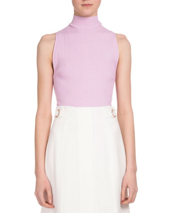 Proenza Schouler Sleeveless Turtleneck Lace Up-Back Sweater, Pink Violet