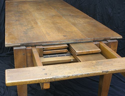 custom made bespoke antique farmhouse table with self storing