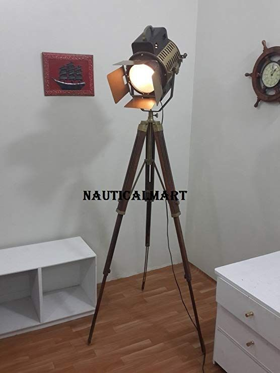 Vintage Industrial Teak Wood Tripod Floor Lamp Flap Searchlight Spotlight By Nauticalmart Movie Room Decor Movie Bedroom Home Theater Seating
