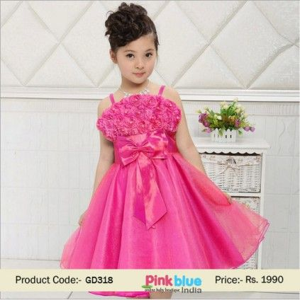 Stylish Hot Pink Partywear Dress for Children - Baby Floral ...