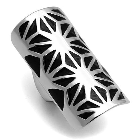 Stainless Steel Rectangular Ring Black Epoxy Floral Design Size 6