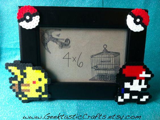 4x6 ash and pikachu pokemon perler picture frame by geektasticcrafts 999