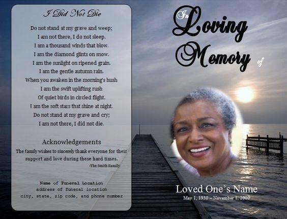 funeral card templates free downloads – Memorial Program Templates Free