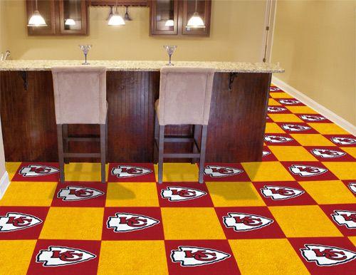 Nfl Kansas City Chiefs Carpet Tiles 18x18 Inches In 2020 Nfl Kansas City Chiefs Carpet Sale Discount Carpet