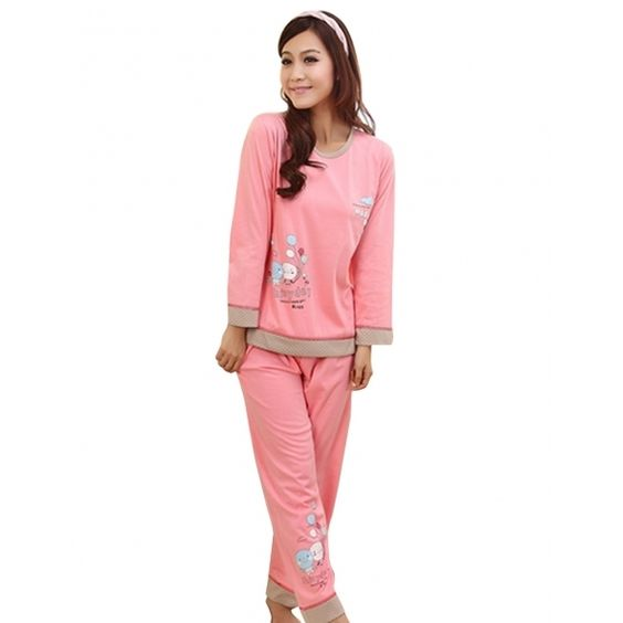 New Ladies Women's Cute Cartoon Balloon Pattern Long Sleeve Cotton Pajamas Sleepwear