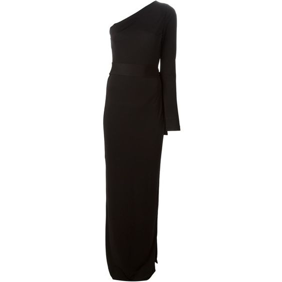 Diane Von Furstenberg asymmetric long dress (£280) ❤ liked on Polyvore featuring dresses, gowns, robe, black, diane von furstenberg dresses, black dress, diane von furstenberg, black asymmetrical dress and kohl dresses