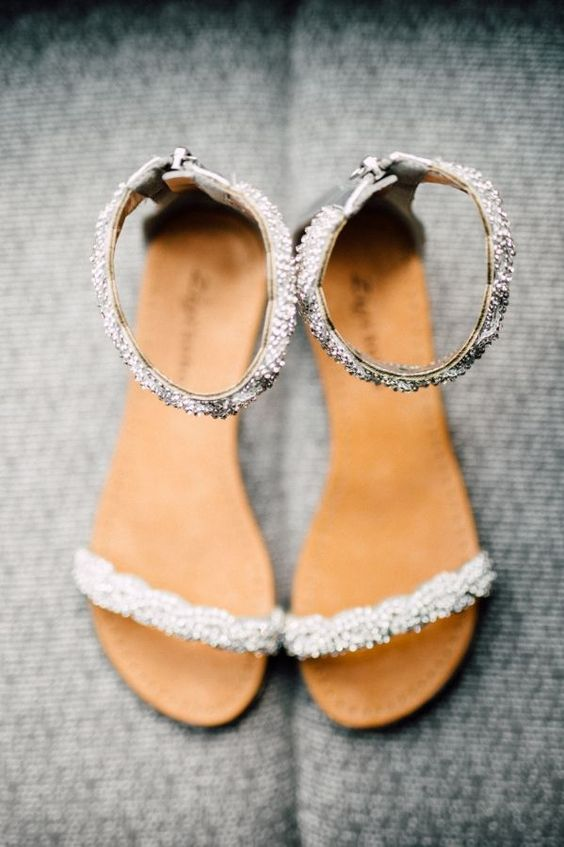 Bridal shoes for every style 44 stylish designer wedding for Flat dress sandals for weddings