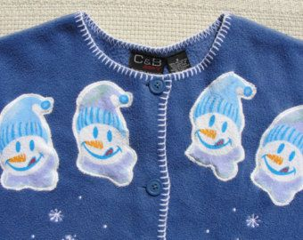 Ugly Christmas Sweater Fleece with Sassy Snowmen, Great Embroidery, and Appliques