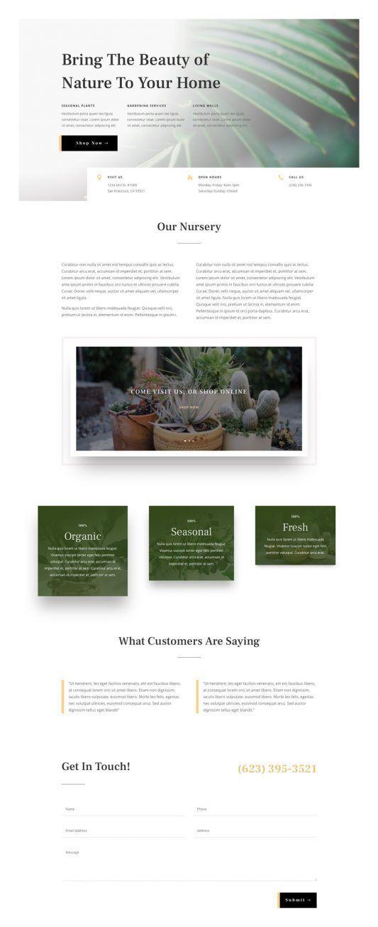 Plant Nursery Landing Page WordPress