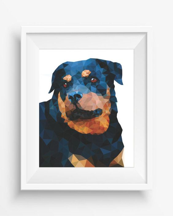 Rottweiler Print,Polygonal Dog,Geometric Dog Art Wall Print,Rottweiler Art, Low Poly,Geometric Pet Prints,digital prints,Low poly design