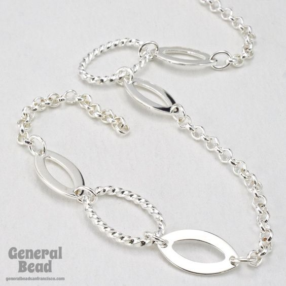12mm x 17mm Bright Silver Oval Link with Cable Chain