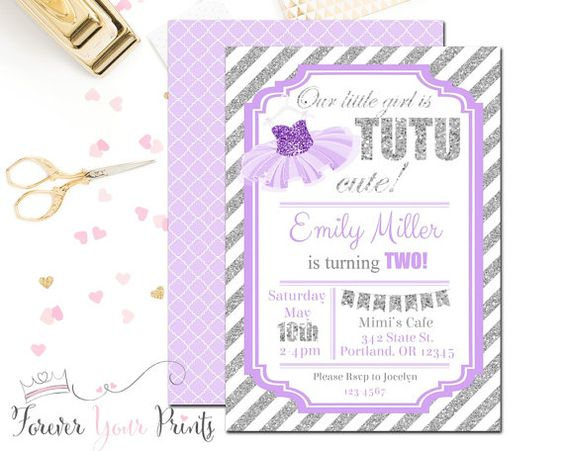 SILVER & LAVENDER Tutu Invitations Tutu by ForeverYourPrints