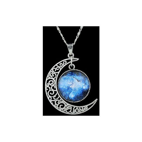 Rotita Galactic Cosmic Crescent Moon Hollow Out Chain Necklace ($5.90) ❤ liked on Polyvore featuring jewelry, necklaces, accessories, blablabla, blue, blue necklace, party jewelry, planet necklace, blue chain necklace and metal jewelry