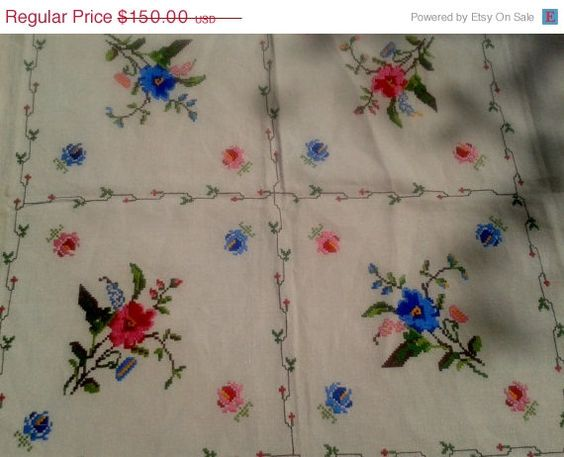ON SALE 50s French Linen Tablecloth & 6 Napkins - Never Used - Hand Embroidered- Handmade- Cream Color- Pink and Blue Floral Design- 6 Pers