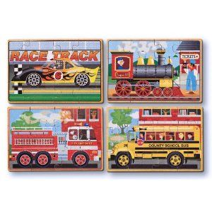 Melissa & Doug Deluxe Vehicles in a Box Jigsaw Puzzles- IT Great b/c you get four 12 piece puzzles - 2.5yrs+