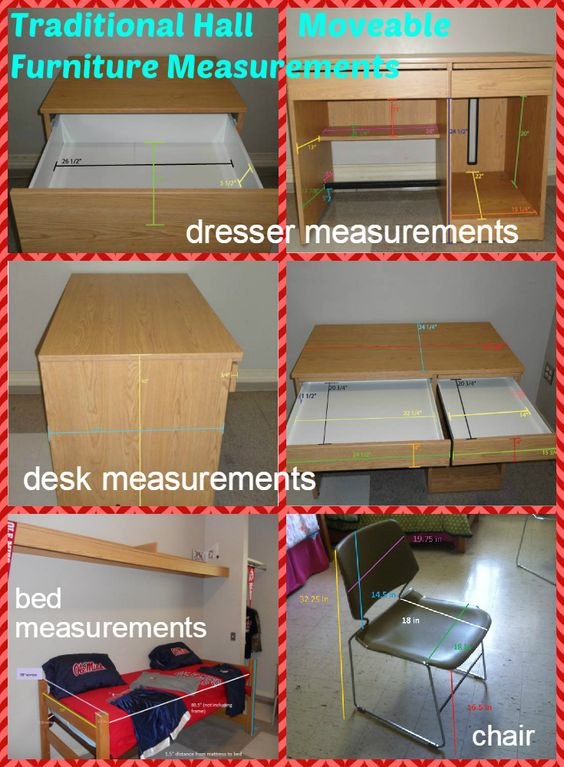 Pin now, read later! If you're living in Deaton, Hefley, Martin, Stockard, a Crosby room that ends in 21, or a room in Stewart that ends in 01 or 13 or 31 or 32, you'll need to know these measurements! (Stewart rooms that end in 31 will not have this dresser.)  A list of measurements with larger text is available here: http://studenthousing.olemiss.edu/communities/martin/