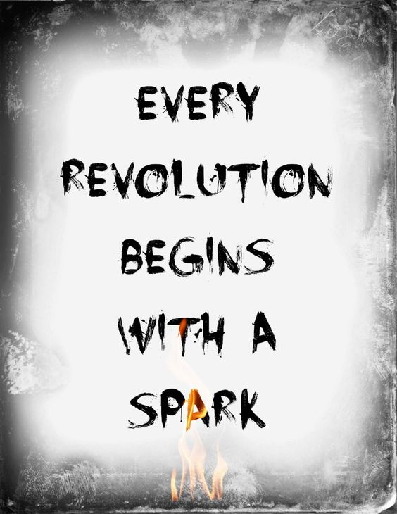"Catching Fire-Hunger Games quote ""Every revolution begins with a spark"" free printable:"