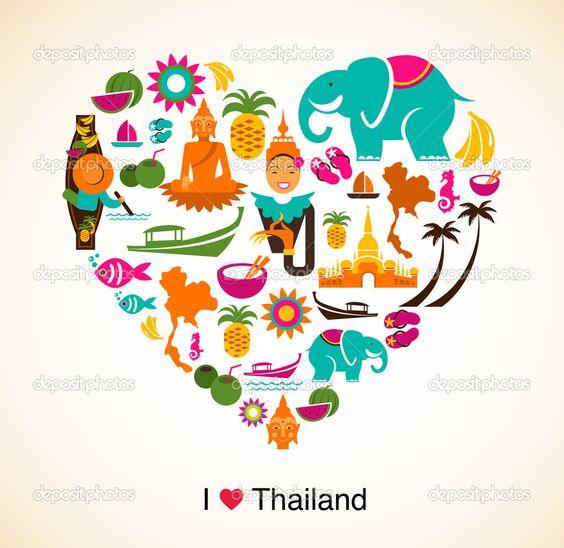 Tailândia amor - coração com tailandesas ícones e símbolos — Stock Illustration #19506903