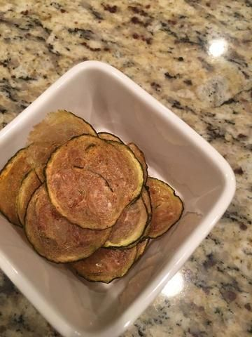 WANT CHIPS?Look at how thinly sliced these are. That makes all the difference. Use a mandolin if you have one. Toss them in a bit of coconut oil with mct (very light). Line the zucchini on parchment or wax paper and sprinkle with season...