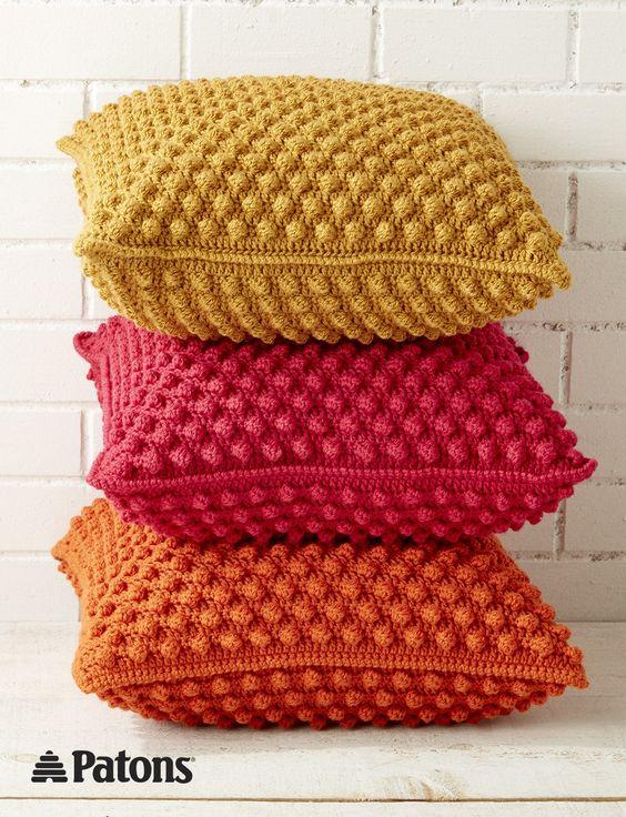 Bobble-licious Pillows | crochet  | yarnspirations | patons | crochet pillow | home decor | free pattern | crochet pillow: