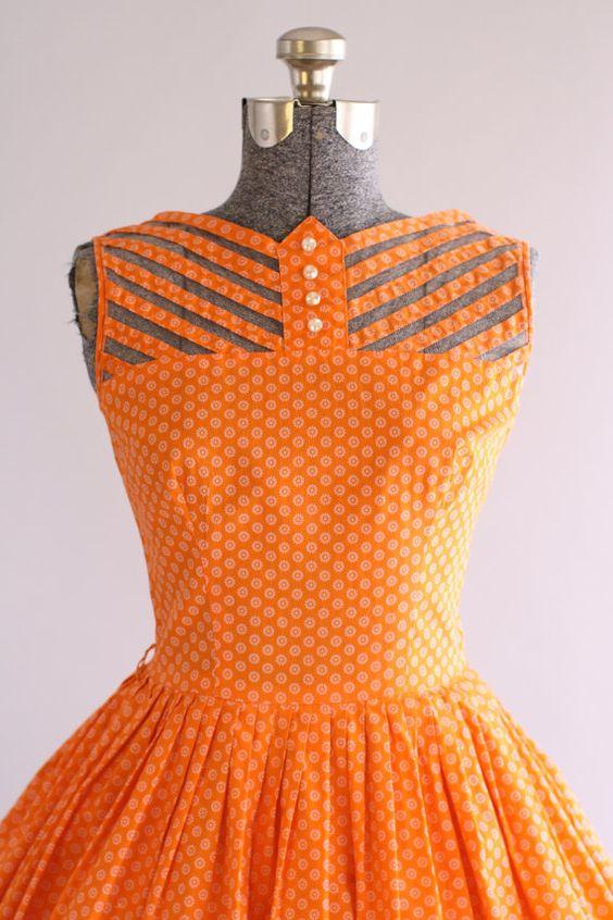 Vintage 1950s Dress / 50s Cotton Dress / Teena Paige Orange Floral Dress w/ Cut Out Detailing S