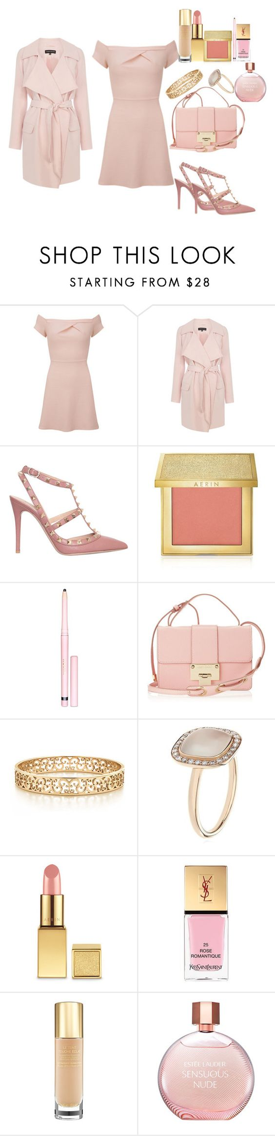 """""""Date Night!"""" by fabuliciousfi ❤ liked on Polyvore featuring Love, Warehouse, Valentino, AERIN, Jimmy Choo, Tiffany & Co., Astley Clarke, Yves Saint Laurent, Estée Lauder and DateNight"""