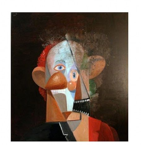 The Comedian  by George Condo, 2012 Paintings, Oil on canvas 60 x 54.25 in.(152.4 x 137.8 cm.) Contemporary Simon Lee Inventory Catalogue