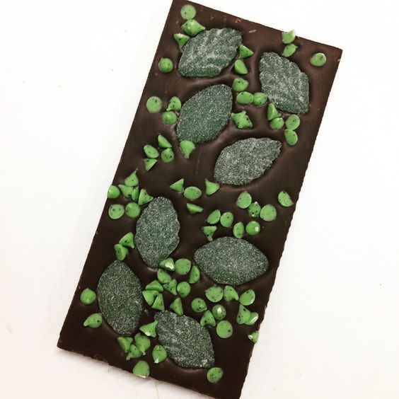Minty dark chocolate! #spearmintleaves #mintchips #darkchocolate #yum #delish #foodpics #instafood #dessert