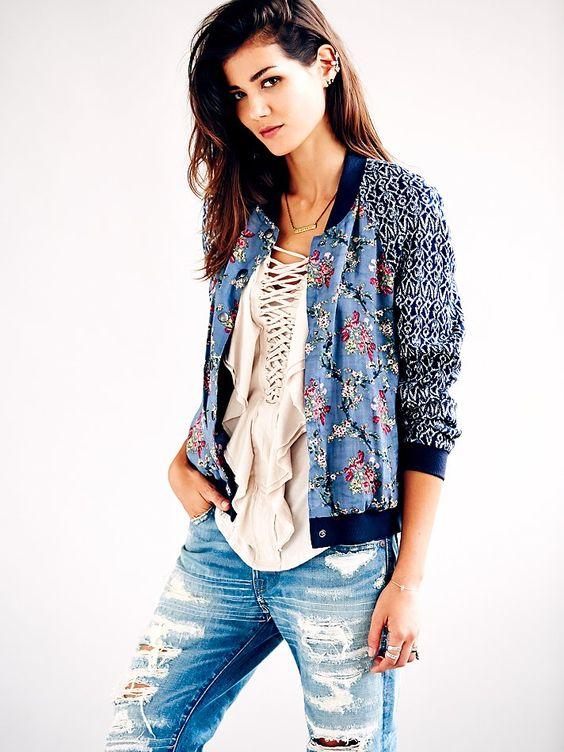 Free People Printed Baseball Jacket | I ❤ Fashion | Pinterest ...