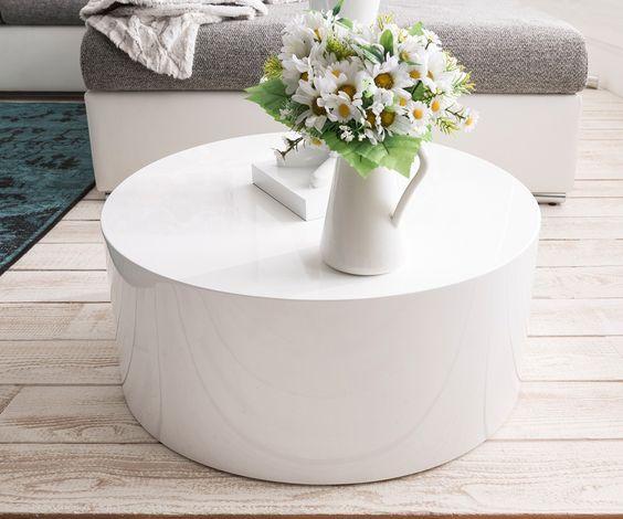 Couchtisch Serin 60 cm Weiss Hochglanz rund DELIFE - Deluxe - wohnzimmertisch weis