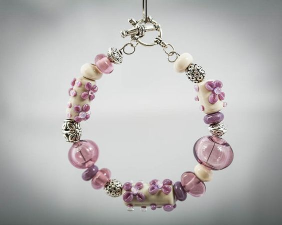 Purple and Ivory Lampwork Bracelet by StateOfFusion on Etsy, $38.50