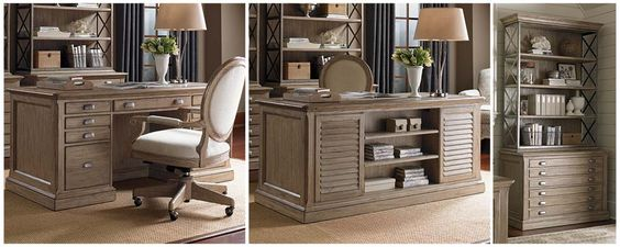 Barton Creek Pedestal Desk & File Cabinet w/ Hutch. #homeoffice #homedecor #interiors #decorating #coastal #coastalhome #homeideas #desk #storage #rustic
