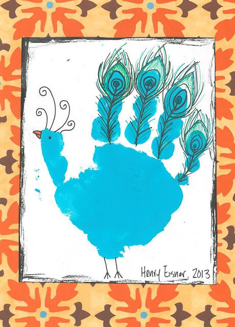 peacock handprint, handprint animals, bird handprint: