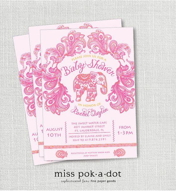 paisley Indian elephant baby shower invitation by misspokadot, $15.00